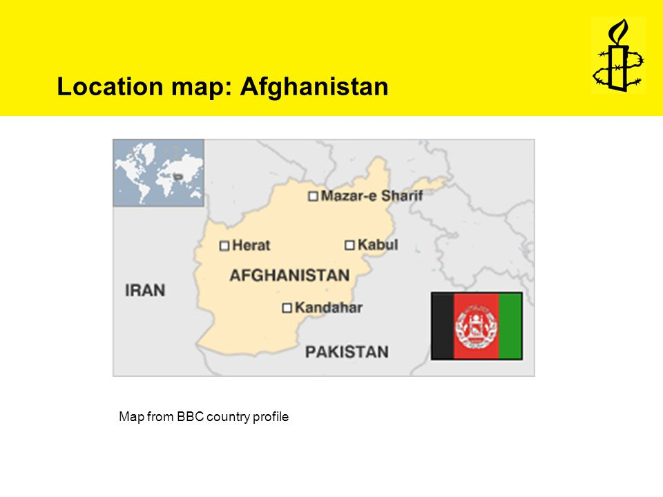 Location map: Afghanistan Map from BBC country profile