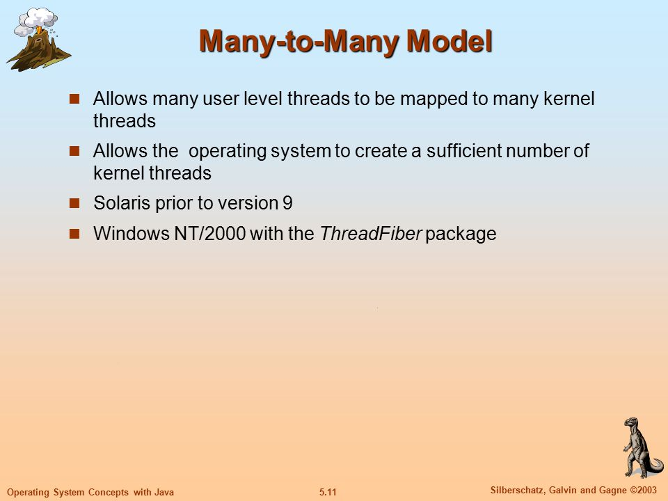 5.11 Silberschatz, Galvin and Gagne ©2003 Operating System Concepts with Java Many-to-Many Model Allows many user level threads to be mapped to many kernel threads Allows the operating system to create a sufficient number of kernel threads Solaris prior to version 9 Windows NT/2000 with the ThreadFiber package