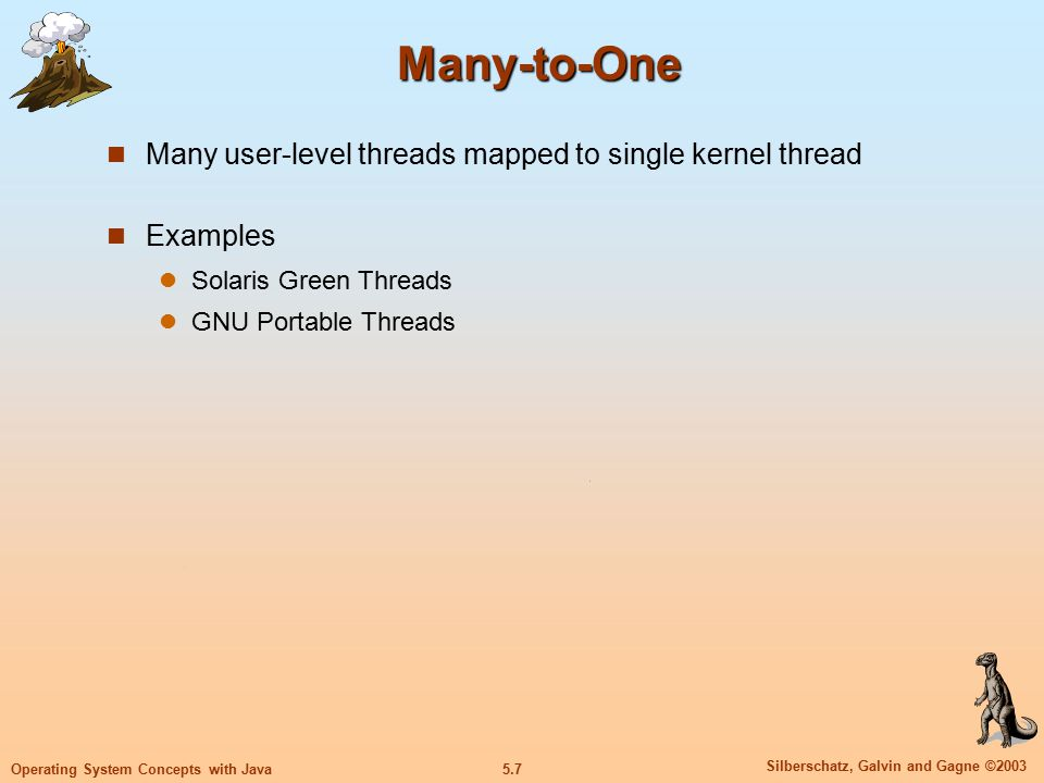 5.7 Silberschatz, Galvin and Gagne ©2003 Operating System Concepts with Java Many-to-One Many user-level threads mapped to single kernel thread Examples Solaris Green Threads GNU Portable Threads