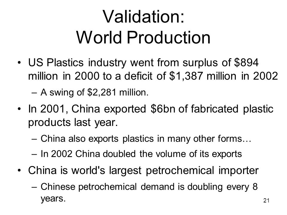 21 Validation: World Production US Plastics industry went from surplus of $894 million in 2000 to a deficit of $1,387 million in 2002 –A swing of $2,2