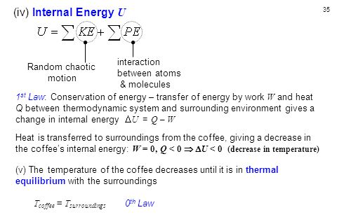 35 (iv) Internal Energy U 1 st Law: Conservation of energy – transfer of energy by work W and heat Q between thermodynamic system and surrounding environment gives a change in internal energy  U = Q – W Heat is transferred to surroundings from the coffee, giving a decrease in the coffee's internal energy: W = 0, Q < 0   U < 0 (decrease in temperature) (v) The temperature of the coffee decreases until it is in thermal equilibrium with the surroundings T coffee = T surroundings 0 th Law Random chaotic motion interaction between atoms & molecules