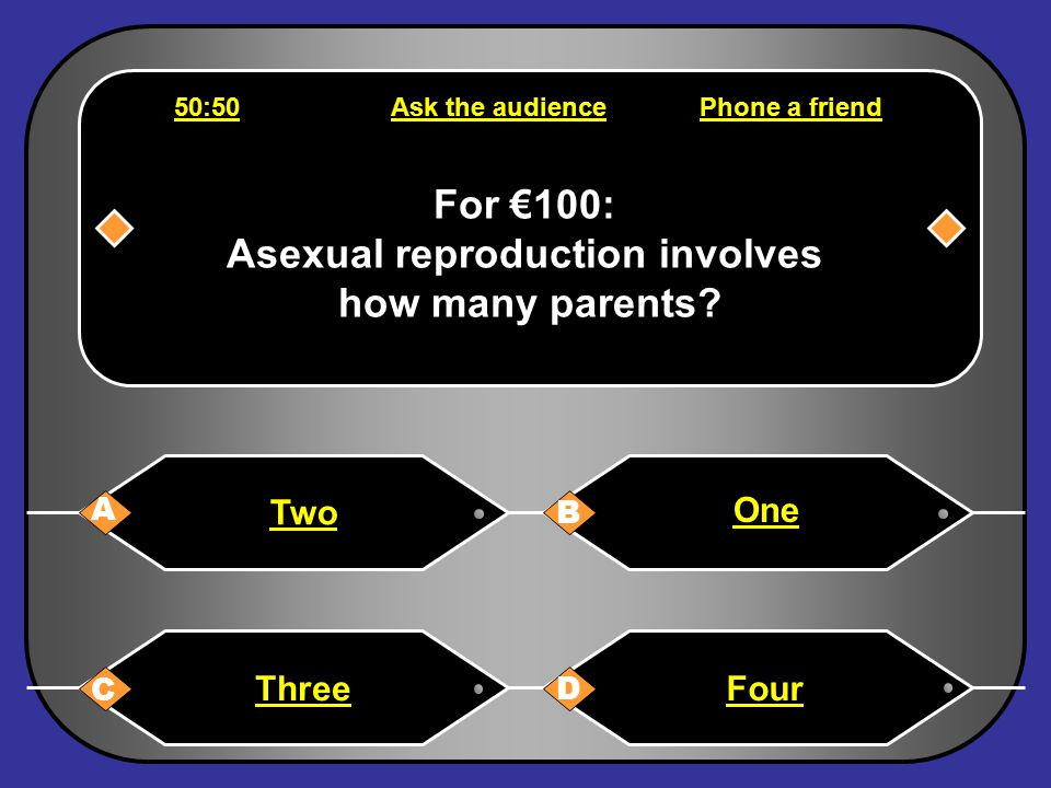 For €64,000: Vegetative propagation does not involve … A B C D Mitosis Gametes A parent plantReproduction 50:50Ask the audiencePhone a friend