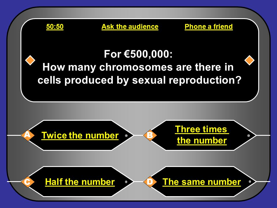 Phone a friend Hello, it s Chris Tarrant on Who wants to be a millionaire, this question is for €250,000.