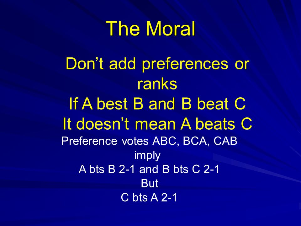 The Moral Don't add preferences or ranks If A best B and B beat C It doesn't mean A beats C Preference votes ABC, BCA, CAB imply A bts B 2-1 and B bts C 2-1 But C bts A 2-1
