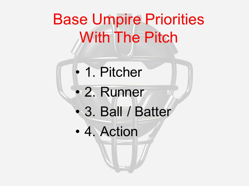 Base Umpire Priorities With The Pitch 1. Pitcher 2.Runner 3.Ball / Batter 4.Action