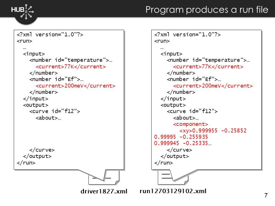 7 Program produces a run file driver1827.xml run12703129102.xml … … 77K … 200meV … … … 77K … 200meV … … … 77K … 200meV … 0.999955 -0.25852 0.99995 -0.255935 0.999945 -0.25335… … … 77K … 200meV … 0.999955 -0.25852 0.99995 -0.255935 0.999945 -0.25335…