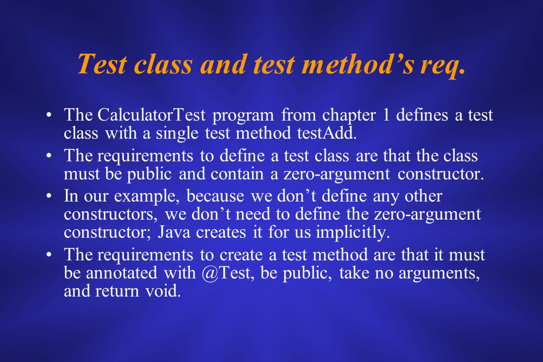 Test class and test method's req.