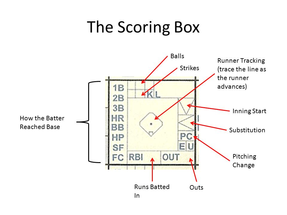 The Scoring Box Balls Strikes Outs Runs Batted In How the Batter Reached Base Inning Start Substitution Pitching Change Runner Tracking (trace the line as the runner advances)