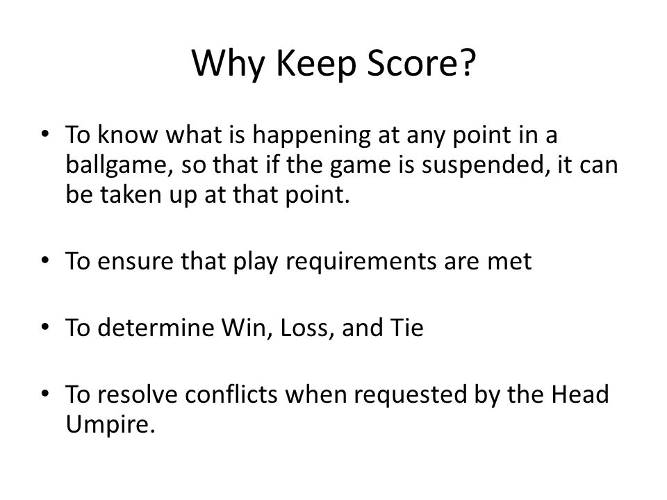 Why Keep Score.