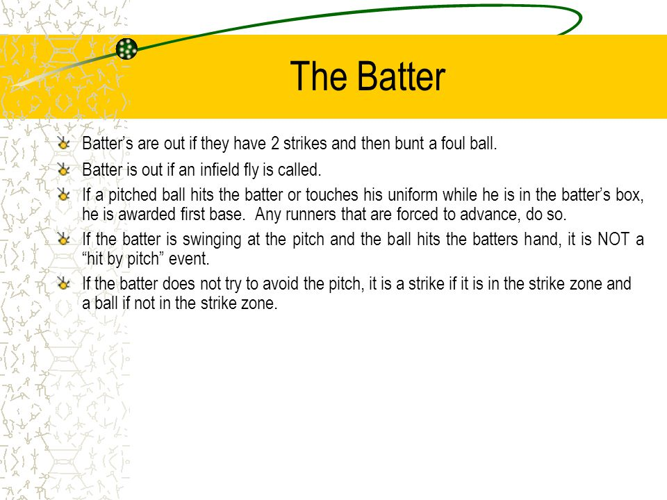 The Batter Batter's are out if they have 2 strikes and then bunt a foul ball.