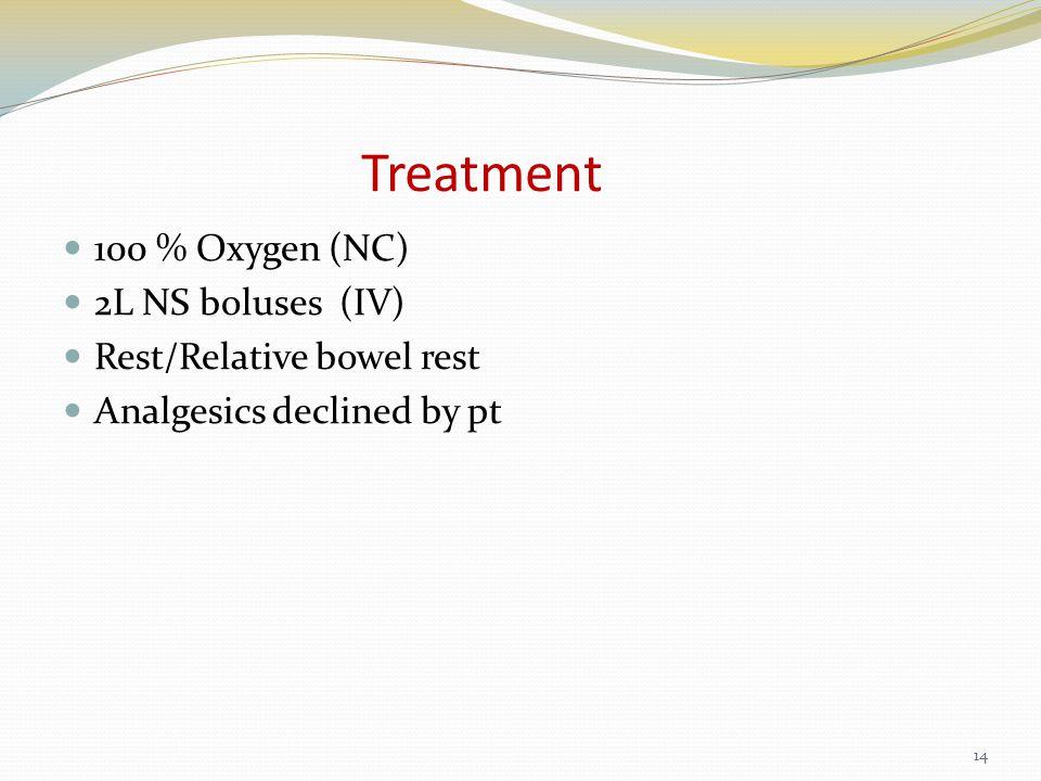 Treatment 100 % Oxygen (NC) 2L NS boluses (IV) Rest/Relative bowel rest Analgesics declined by pt 14