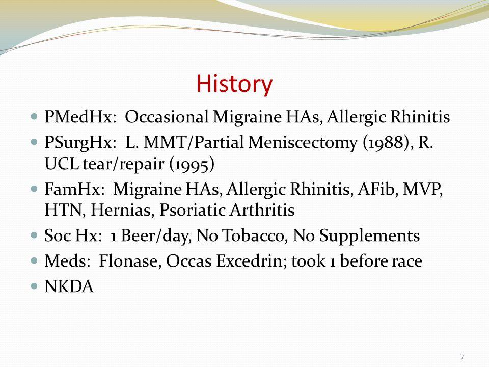 History PMedHx: Occasional Migraine HAs, Allergic Rhinitis PSurgHx: L.