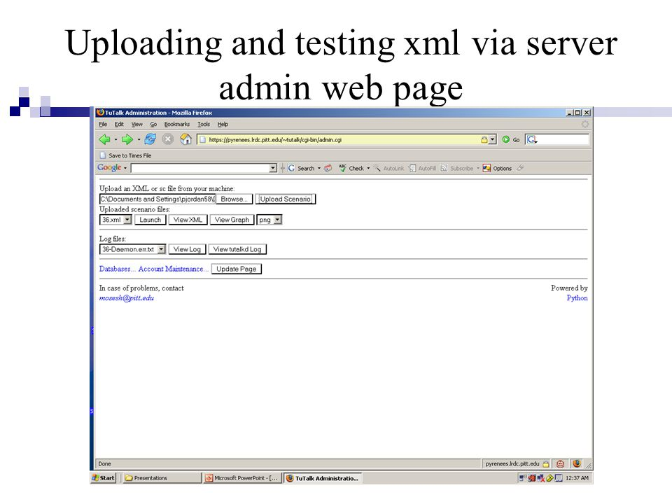 Uploading and testing xml via server admin web page