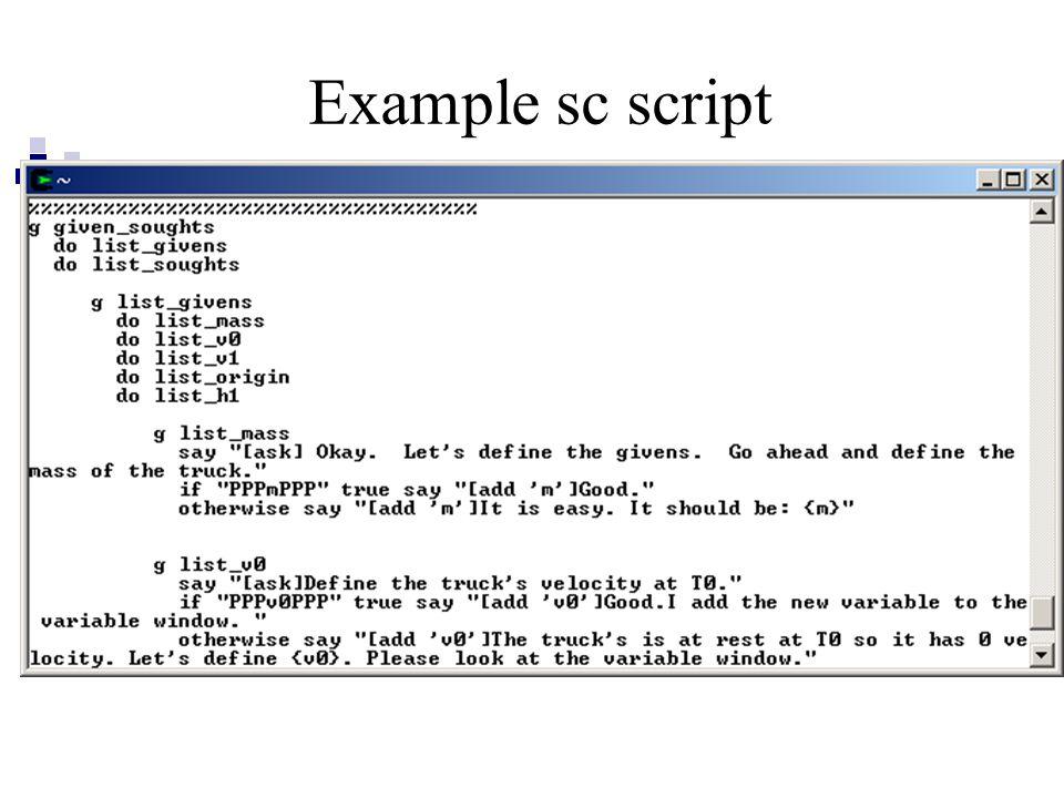 Example sc script