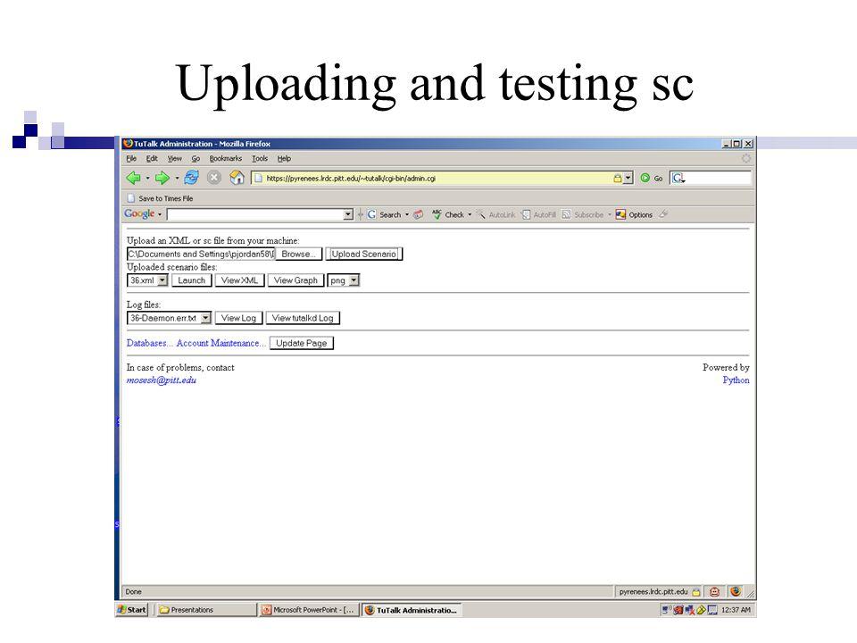 Uploading and testing sc
