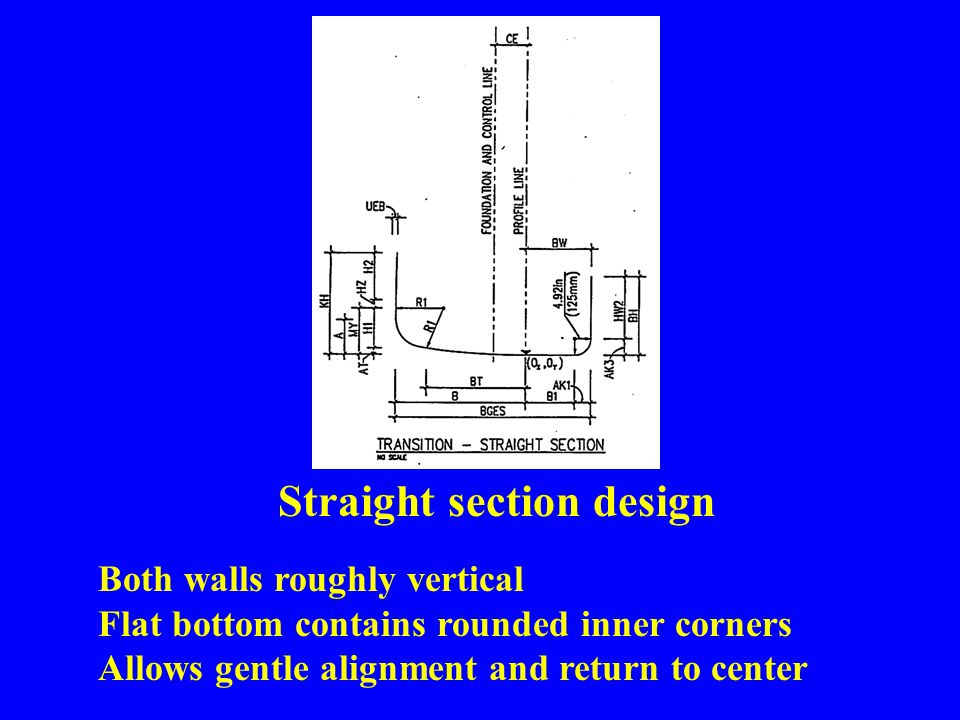 Straight section design Both walls roughly vertical Flat bottom contains rounded inner corners Allows gentle alignment and return to center