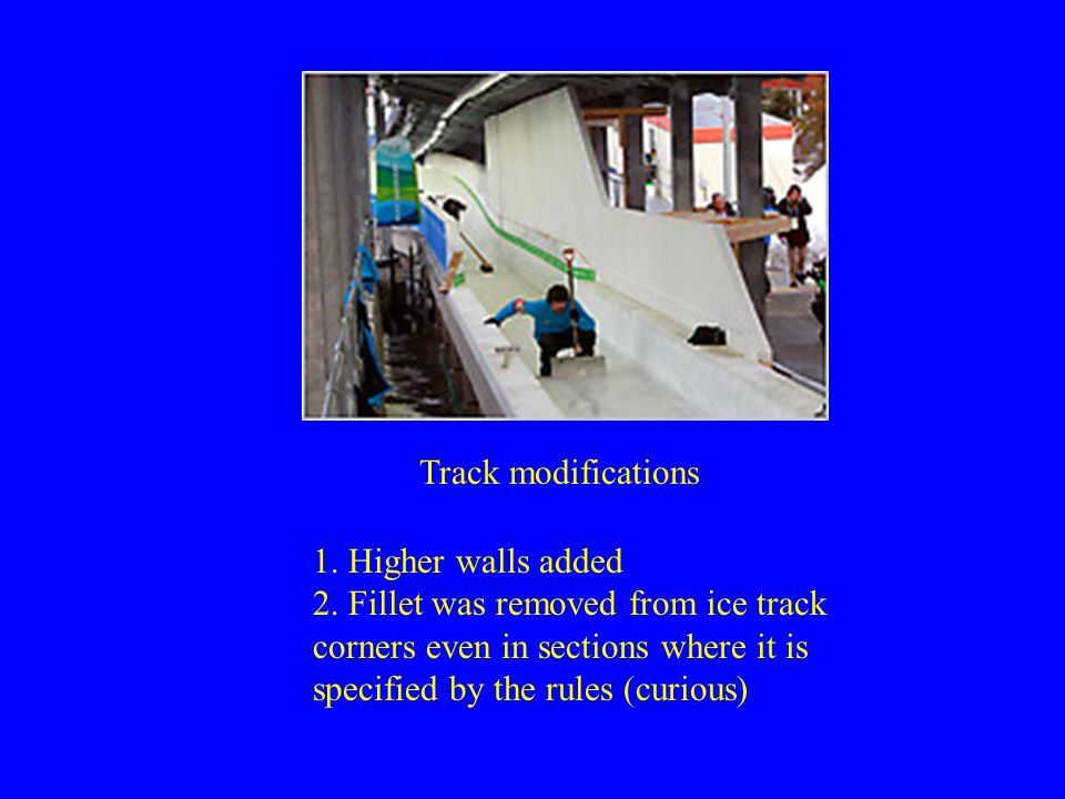 1. Higher walls added 2. Fillet was removed from ice track corners even in sections where it is specified by the rules (curious) Track modifications