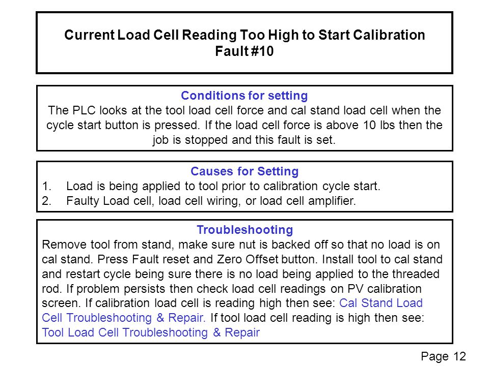 Current Load Cell Reading Too High to Start Calibration Fault #10 Conditions for setting The PLC looks at the tool load cell force and cal stand load cell when the cycle start button is pressed.