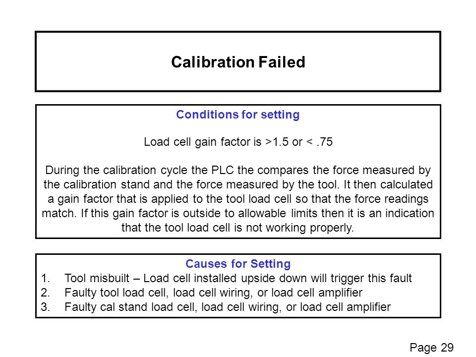 Calibration Failed Conditions for setting Load cell gain factor is >1.5 or <.75 During the calibration cycle the PLC the compares the force measured by the calibration stand and the force measured by the tool.