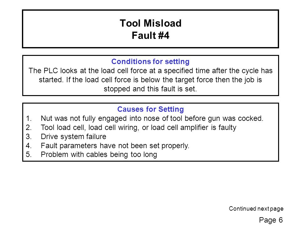 Tool Misload Fault #4 Conditions for setting The PLC looks at the load cell force at a specified time after the cycle has started.