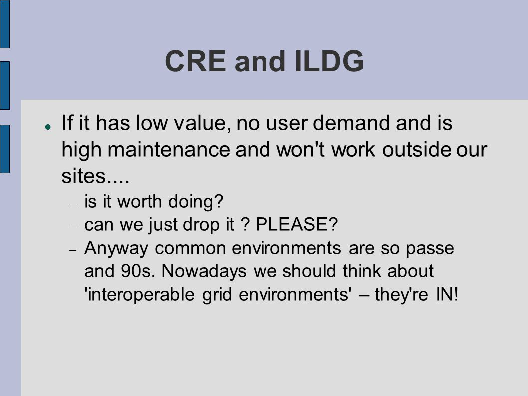 ILDG Middleware Progressed  but still on eXist MDC  dumb RC: (just remap the LFN to a FNAL dcache name) Issues:  Where is all the markup .