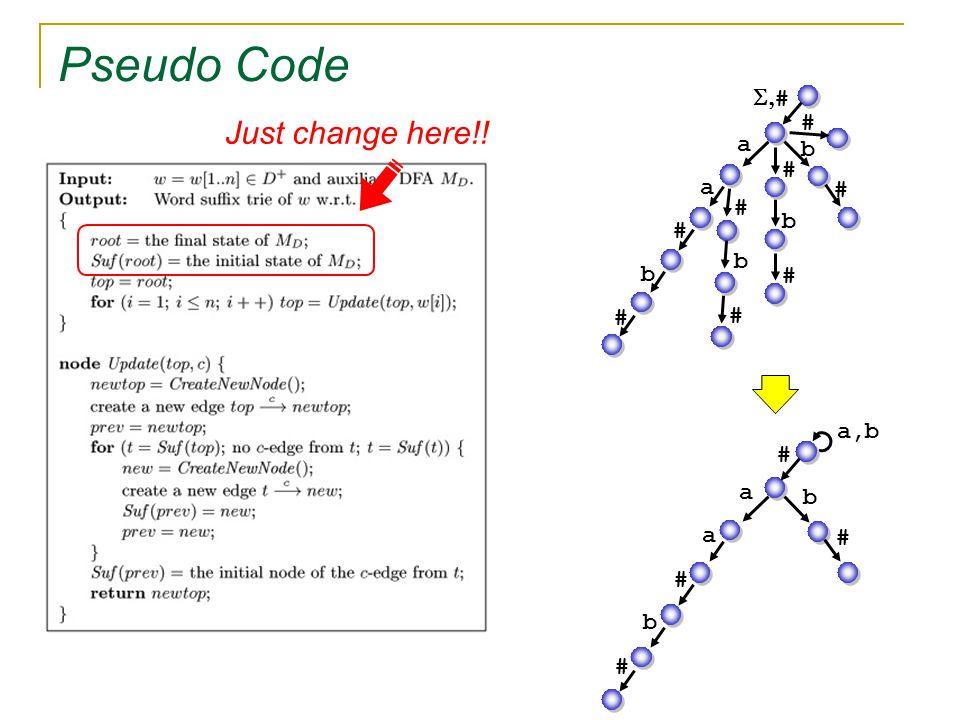 Pseudo Code Just change here!! a a # b # b # a a # b # # b # # b # b # # a,b #  #