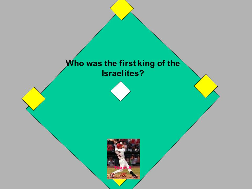 Solomon was the last king of the united kingdom. You hit a home run! Your runner on 3rd also comes home. If incorrect, B Team takes a turn. OUT! NEXT