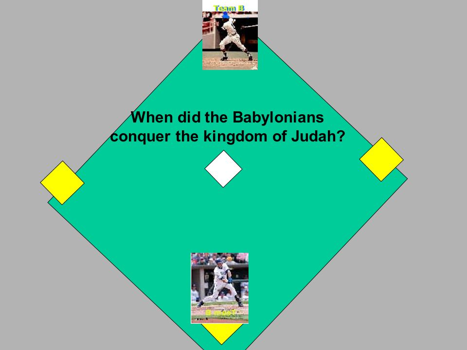 The Assyrians conquered the Israelites in 721 BC. You get a 2-base run. If incorrect, A Team takes a turn. OUT! NEXT
