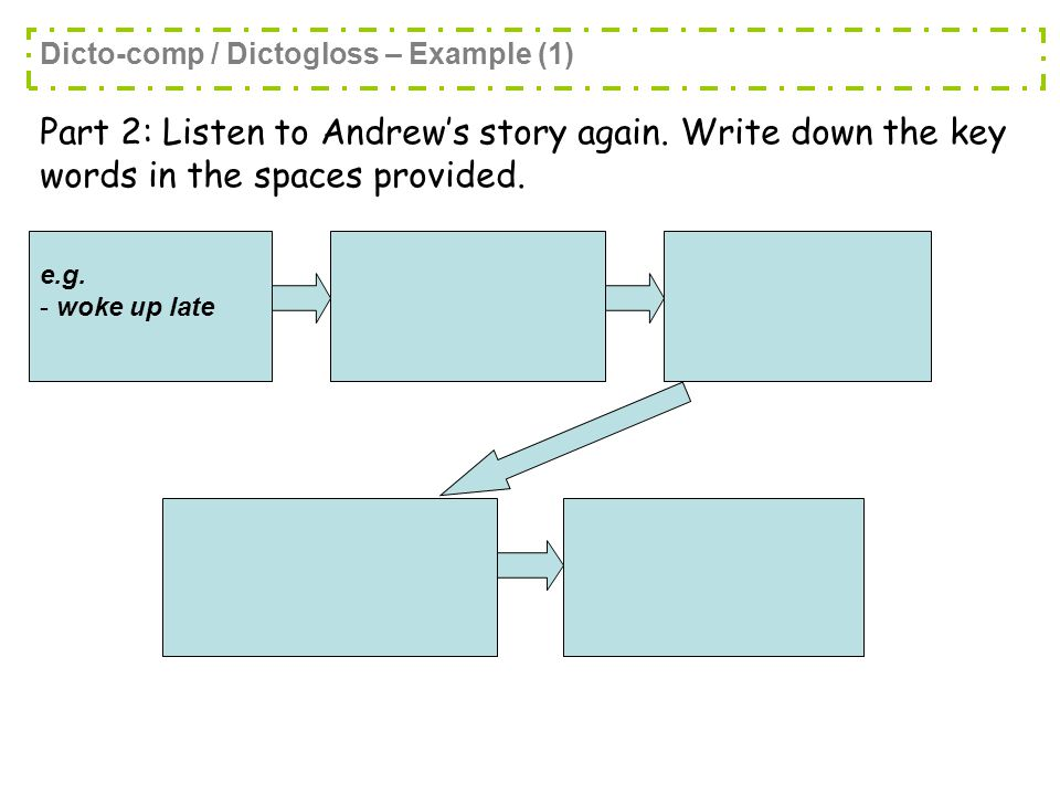 Part 2: Listen to Andrew's story again. Write down the key words in the spaces provided.