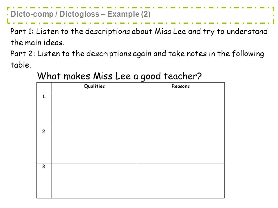 Part 1: Listen to the descriptions about Miss Lee and try to understand the main ideas.