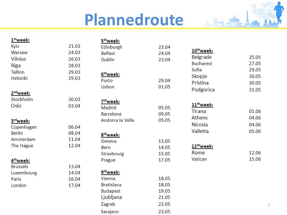 Plannedroute 7 1 st week: Kyiv21.03 Warsaw 24.03 Vilnius 26.03 Riga 28.03 Tallinn 29.03 Helsinki 29.03 2 nd week: Stockholm 30.03 Oslo 03.04 3 rd week