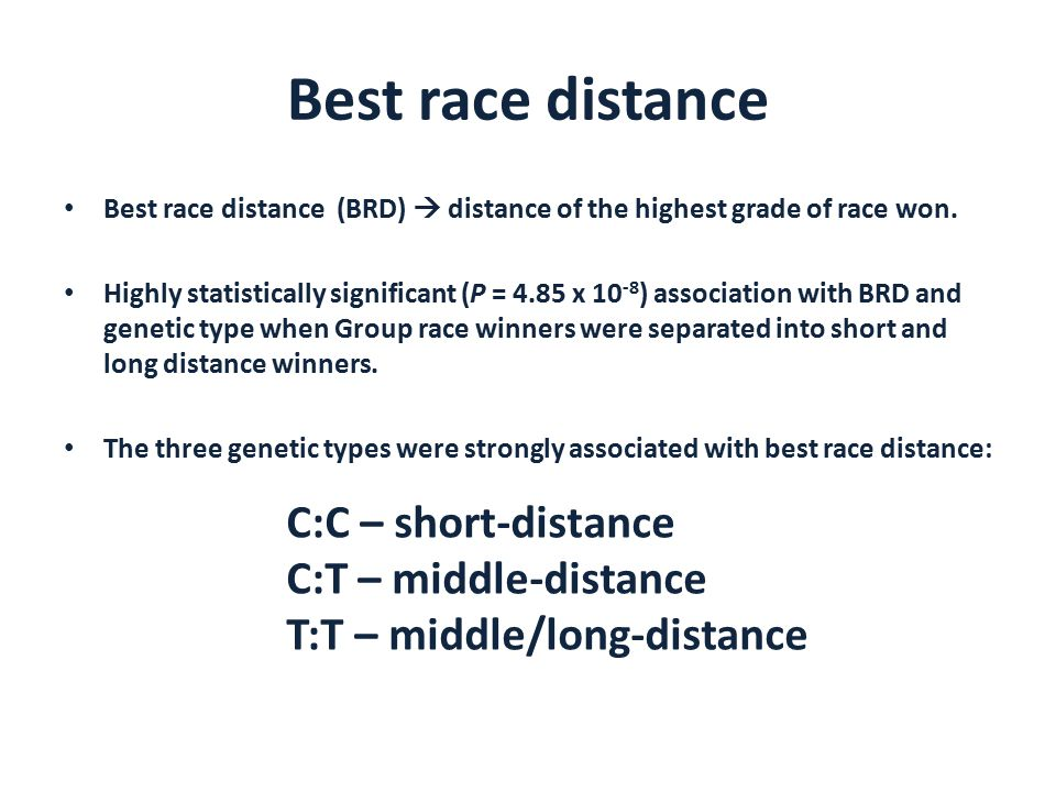 Best race distance Best race distance (BRD)  distance of the highest grade of race won.