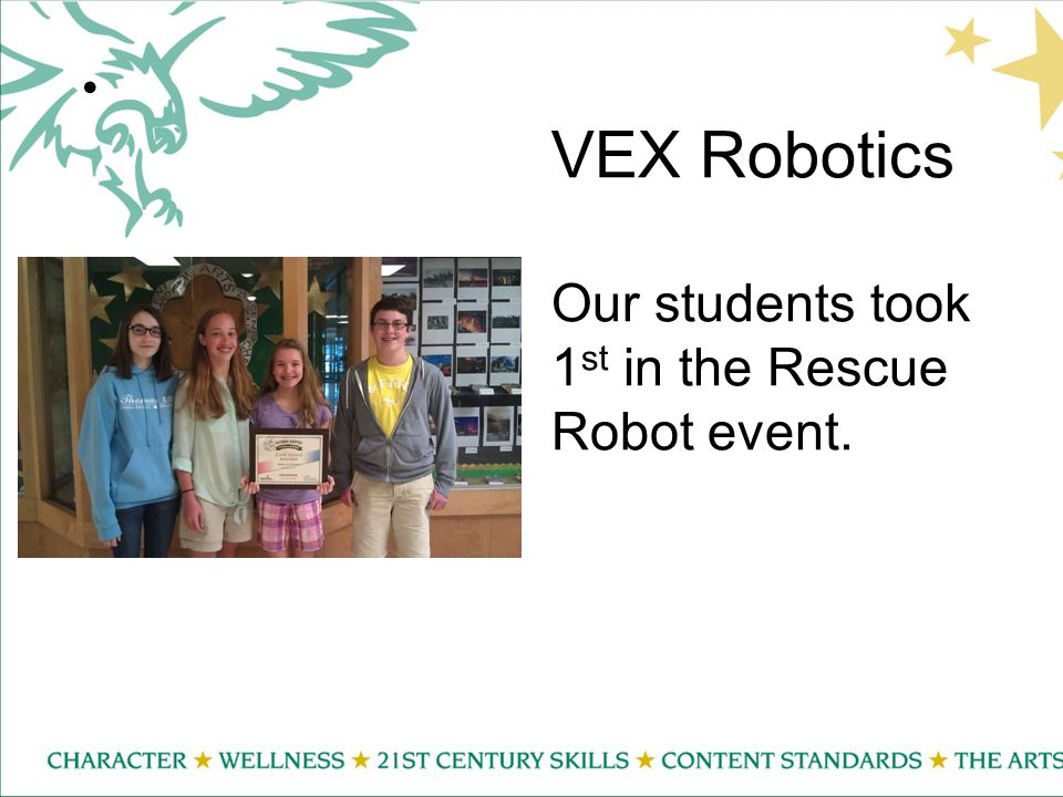 VEX Robotics Our students took 1 st in the Rescue Robot event.