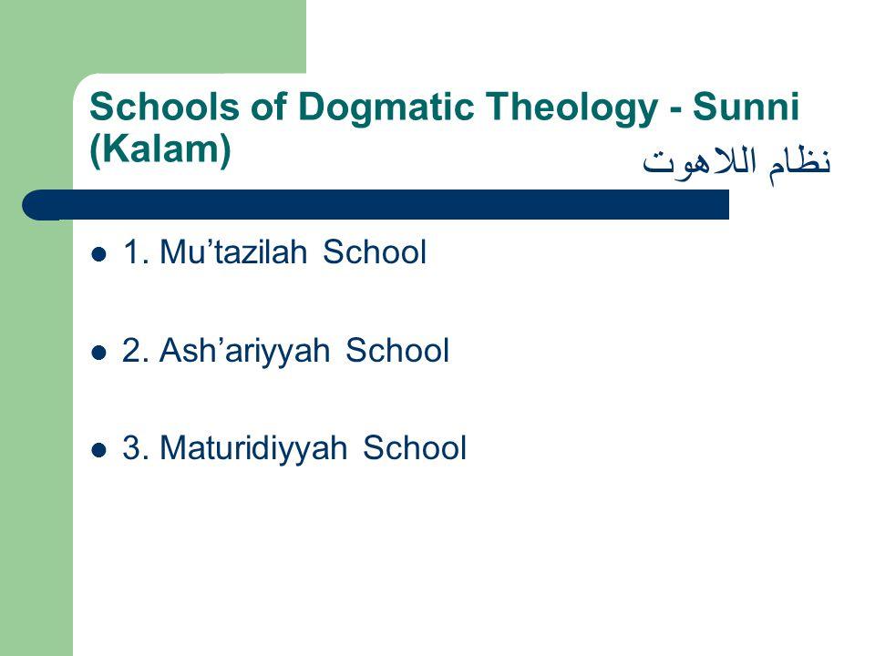 Schools of Dogmatic Theology - Sunni (Kalam) 1. Mu'tazilah School 2. Ash'ariyyah School 3. Maturidiyyah School نظام اللاهوت