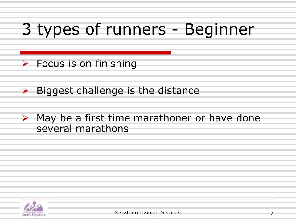 Marathon Training Seminar 18 Speed training  Short races  Tempo runs  Intervals  Fartlek (speed play)
