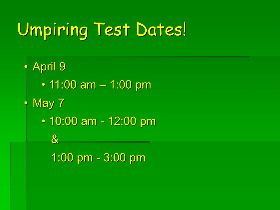 Umpiring Test Dates.
