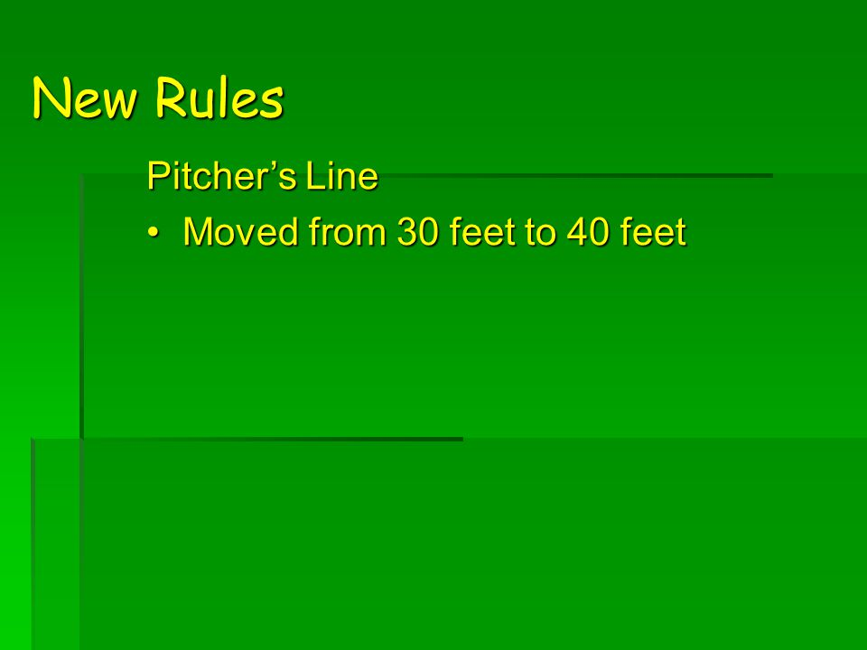 New Rules Pitcher's Line Moved from 30 feet to 40 feetMoved from 30 feet to 40 feet