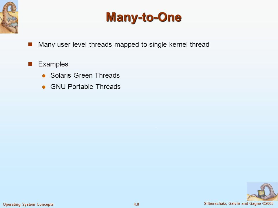 4.8 Silberschatz, Galvin and Gagne ©2005 Operating System Concepts Many-to-One Many user-level threads mapped to single kernel thread Examples Solaris Green Threads GNU Portable Threads