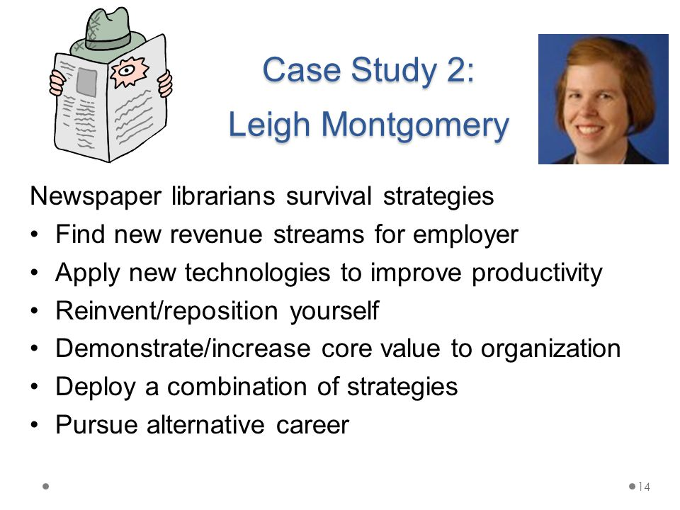 Case Study 2: Leigh Montgomery Newspaper librarians survival strategies Find new revenue streams for employer Apply new technologies to improve productivity Reinvent/reposition yourself Demonstrate/increase core value to organization Deploy a combination of strategies Pursue alternative career 14