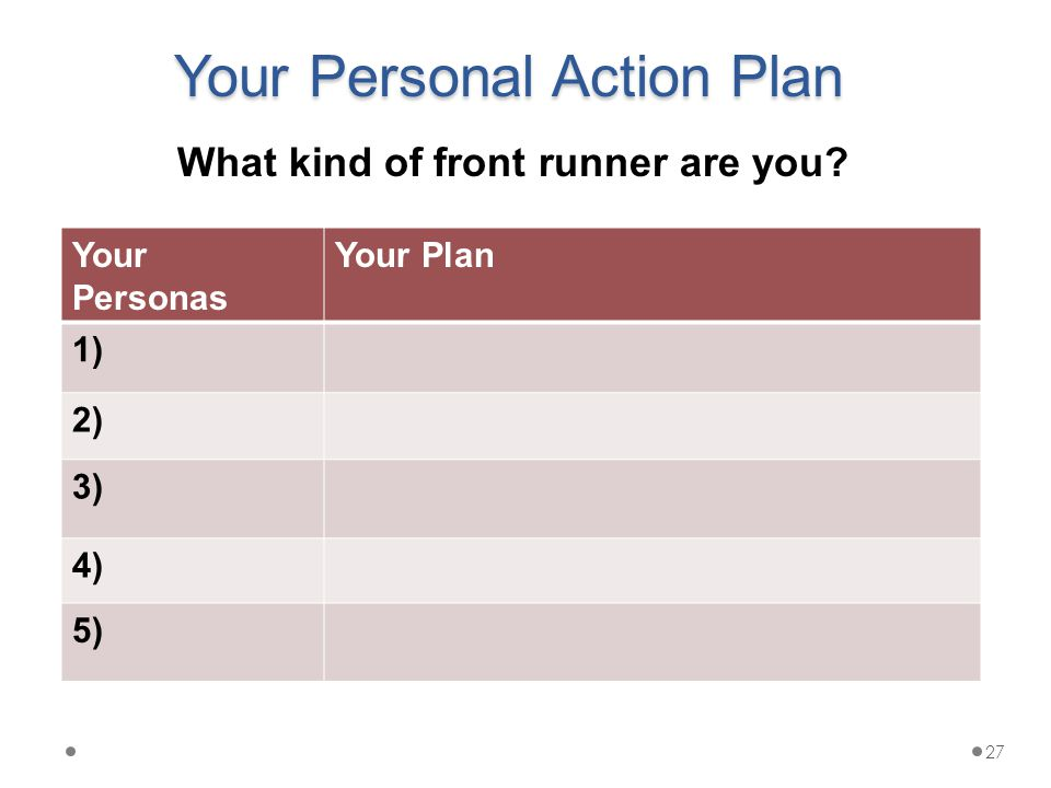 Your Personal Action Plan Your Personas Your Plan 1) 2) 3) 4) 5) What kind of front runner are you.