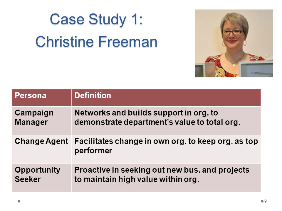Case Study 1: Christine Freeman PersonaDefinition Campaign Manager Networks and builds support in org.