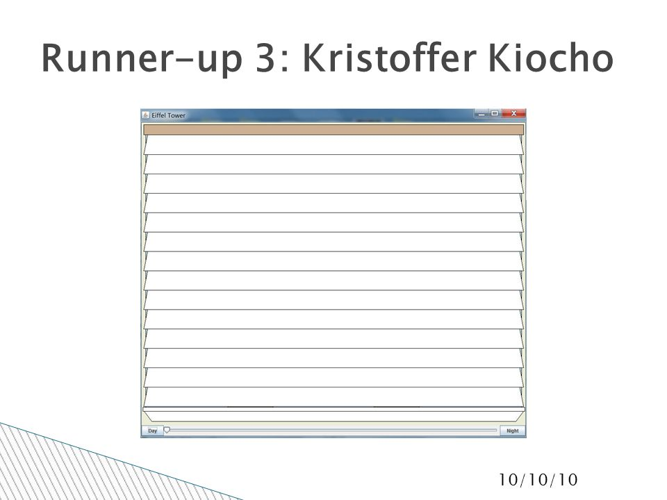 10/10/10 Runner-up 3: Kristoffer Kiocho