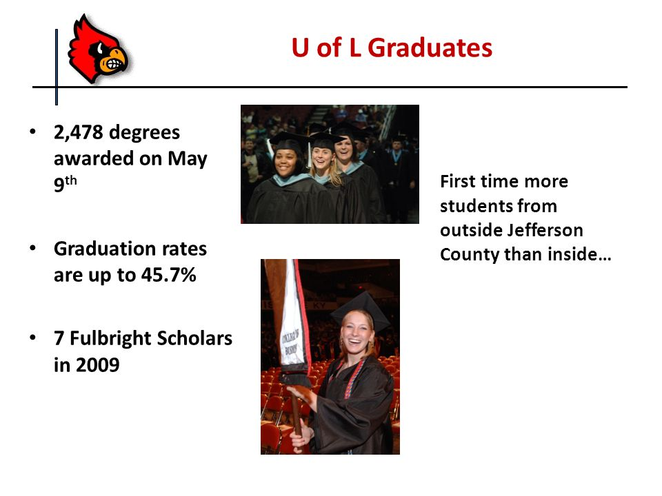 U of L Graduates First time more students from outside Jefferson County than inside… 2,478 degrees awarded on May 9 th Graduation rates are up to 45.7% 7 Fulbright Scholars in 2009