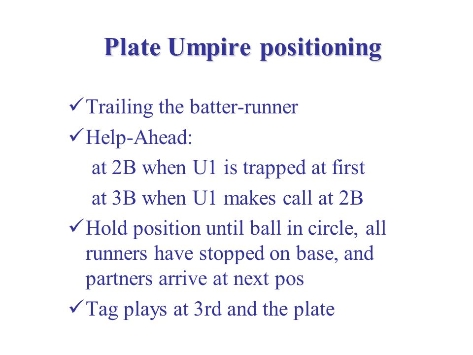 'Rimming' Technique Rimming is a technique that follows the 'Parallel Path' to the runner concept Example: R1 at 1B.