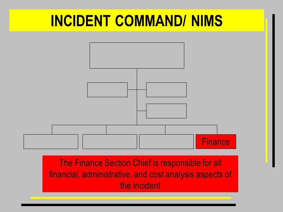 INCIDENT COMMAND/ NIMS The Finance Section Chief is responsible for all financial, administrative, and cost analysis aspects of the incident Finance
