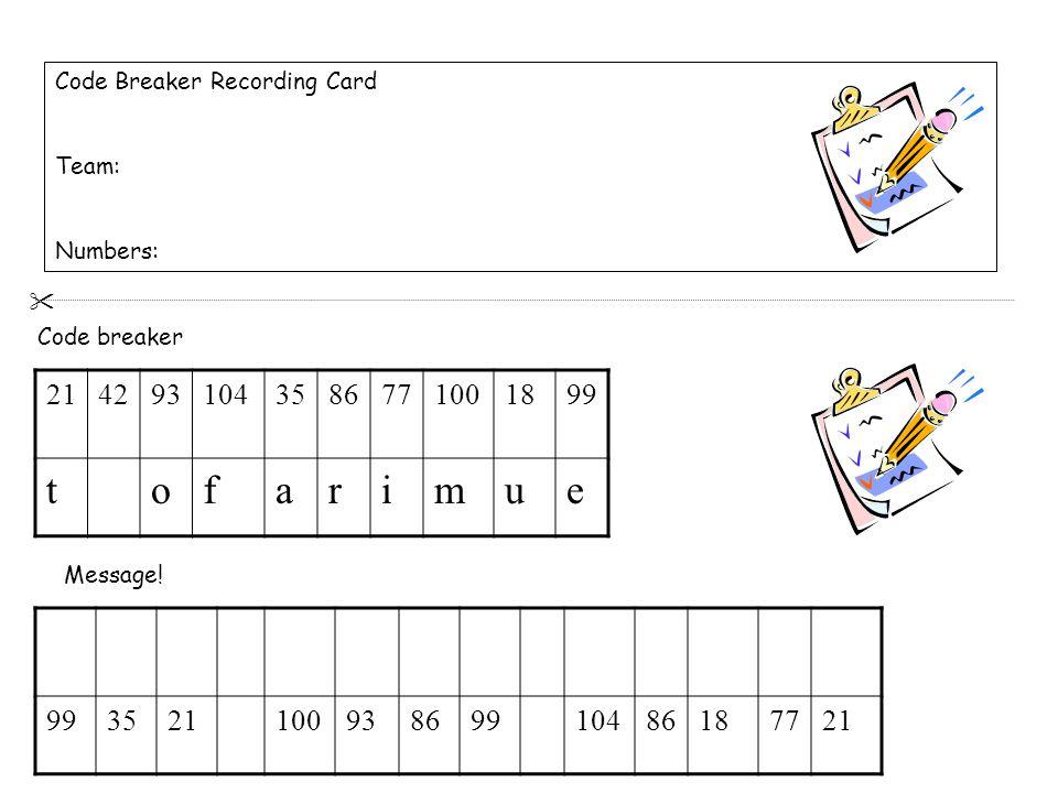 Code Breaker Recording Card Team: Numbers: 2142931043586771001899 tofarimue 352110093869910486187721 Code breaker Message.