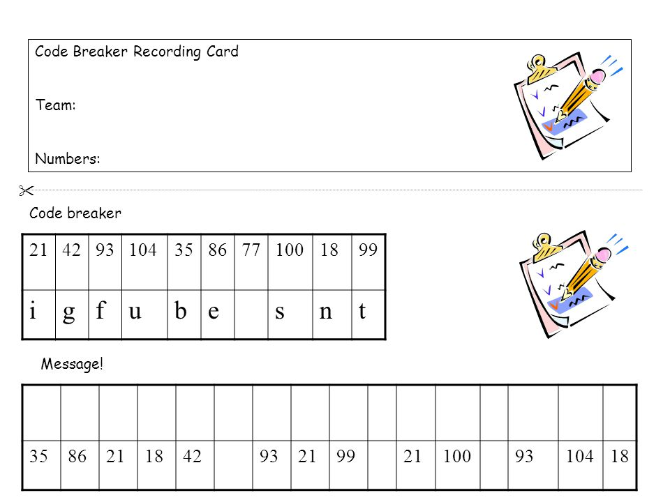 Code Breaker Recording Card Team: Numbers: 2142931043586771001899 igfubesnt 3586211842932199211009310418 Code breaker Message.