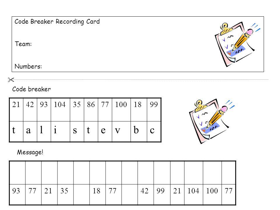 Code Breaker Recording Card Team: Numbers: 2142931043586771001899 talistevbc 93772135187742992110410077 Code breaker Message.