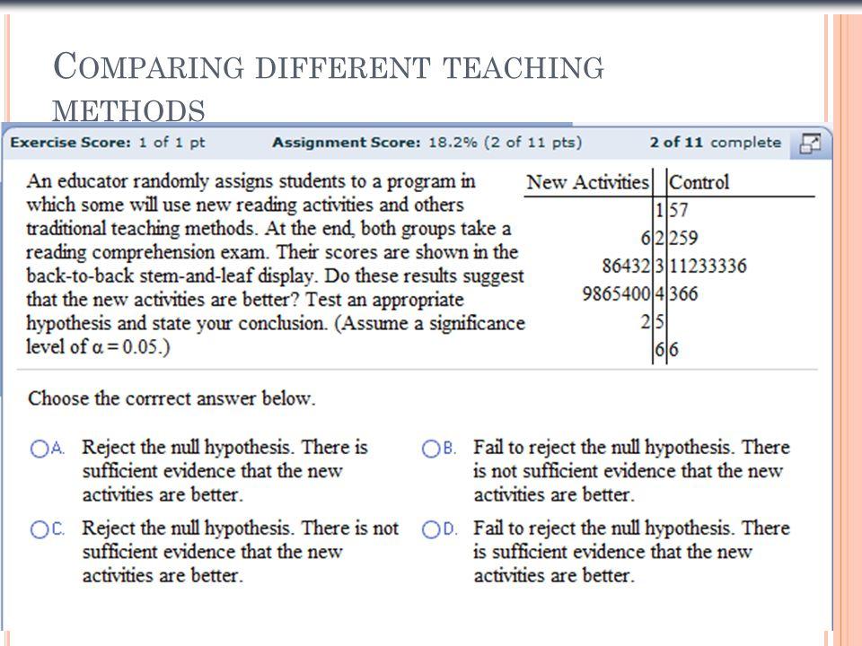 C OMPARING DIFFERENT TEACHING METHODS Slide 1- 10