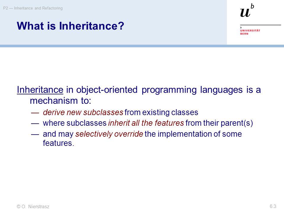 © O. Nierstrasz P2 — Inheritance and Refactoring 6.3 What is Inheritance.